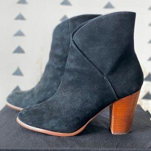 Black Suede Boots with Brown Heel